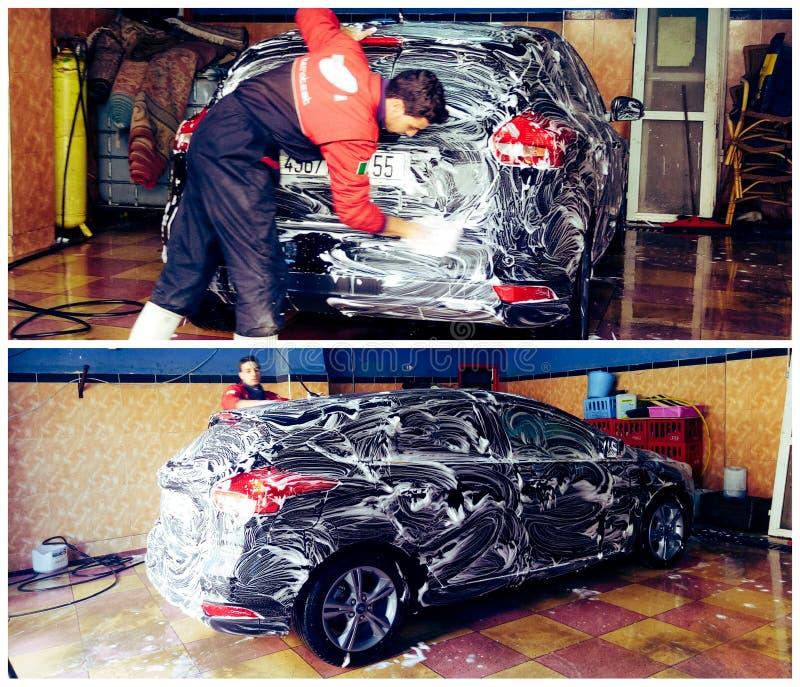 De Auto van de was stock afbeeldingen