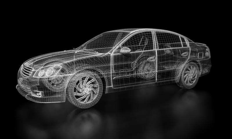 De Auto van Wireframe stock illustratie