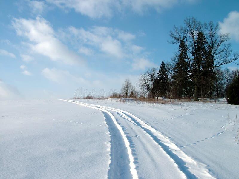De autoaandrijving van de winter stock foto