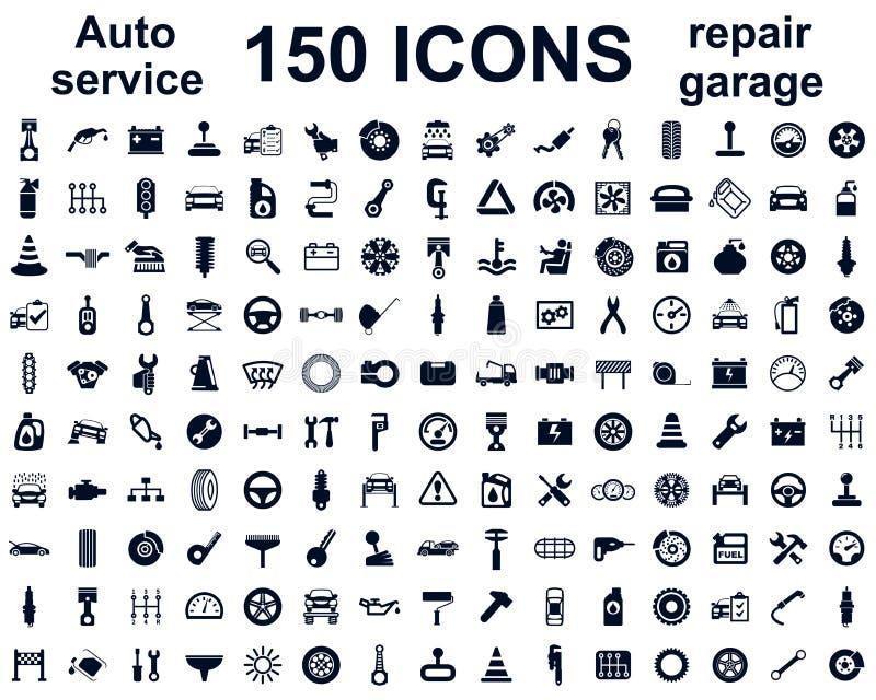 De autodienst, autogarage 150 geïsoleerde geplaatste pictogrammen - vector royalty-vrije illustratie