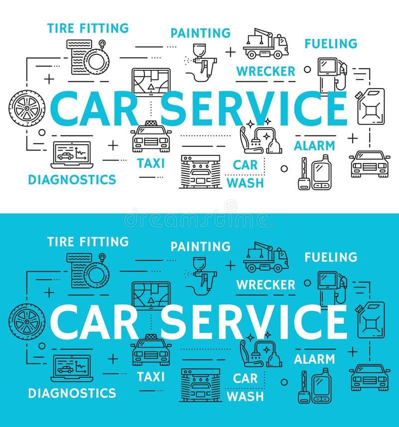 De autodienst en de autopictogrammen van de reparatie vectorlijn royalty-vrije illustratie