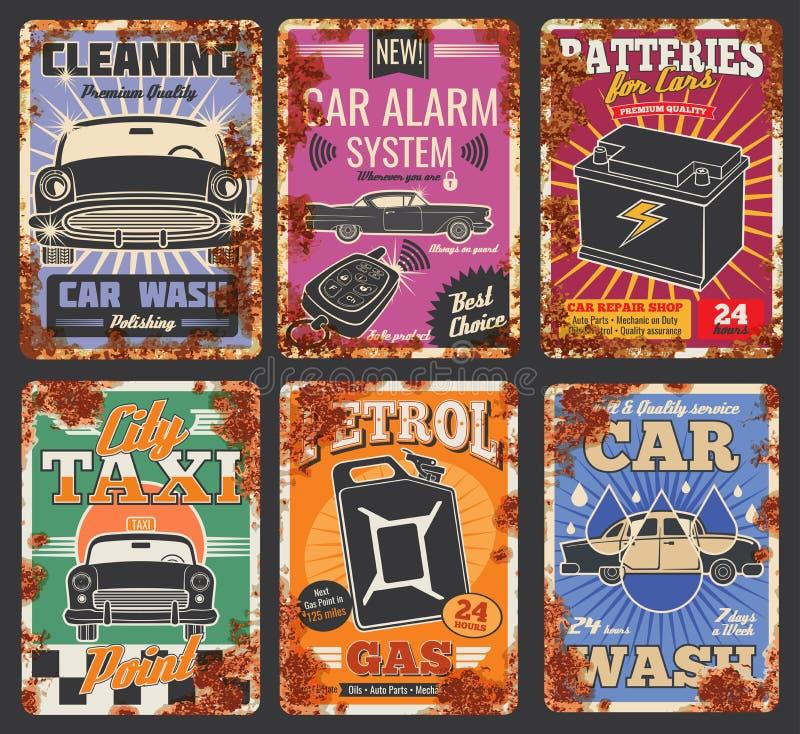 De autodienst en autowasaffiches met roest vector illustratie