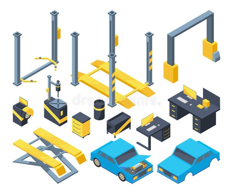 De autodienst met verschillend materiaal Mechanische hulpmiddelen voor automobiele kenmerkend Beeldverhaal isometrische illustrat royalty-vrije illustratie