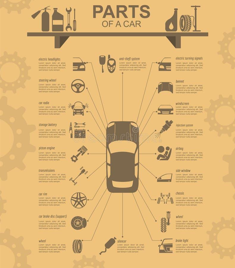 De autodienst, reparatie Infographics royalty-vrije illustratie
