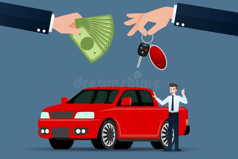 De autohandelaar maakt een uitwisseling, verkoop, huur tussen een auto en de creditcard van de klant royalty-vrije illustratie