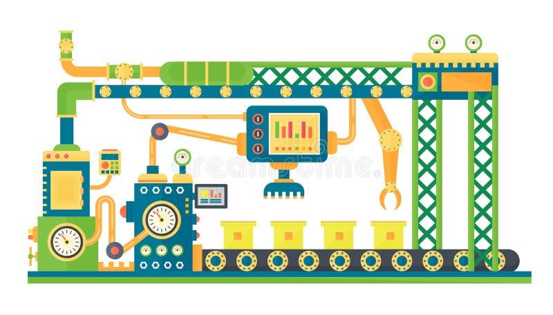 De automatische van de de robotstechnologie van de voorraadlijn industriële machine Vector illustratie vector illustratie