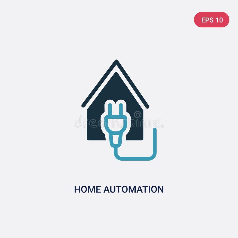 De automatiserings vectorpictogram van het twee kleurenhuis van slim huisconcept het geïsoleerde blauwe vector het tekensymbool v stock illustratie