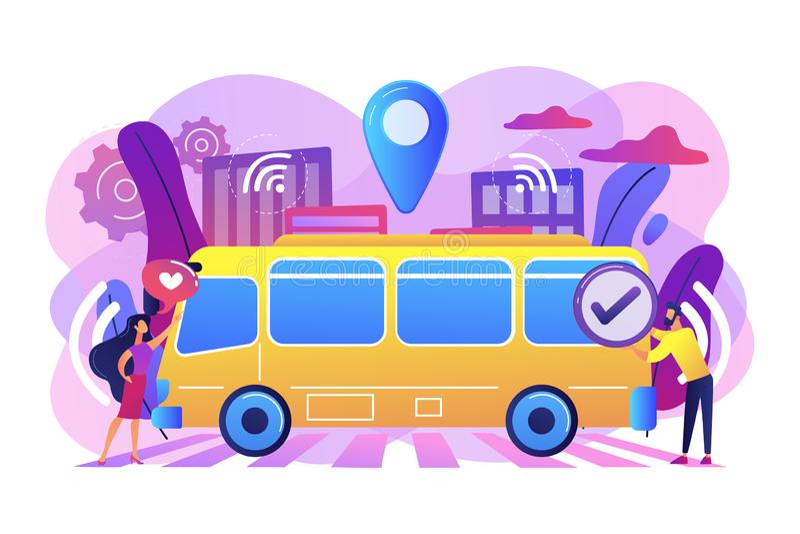 De autonome vectorillustratie van het openbaar vervoerconcept royalty-vrije illustratie