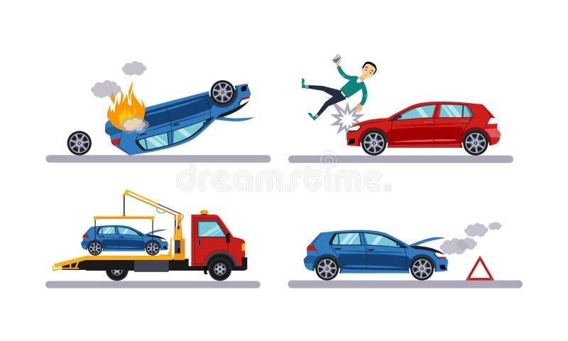De autoongevallen plaatsen, autoneerstorting, mens die door een auto, evacuatie vlak vectorillustratie op een witte achtergrond r royalty-vrije illustratie