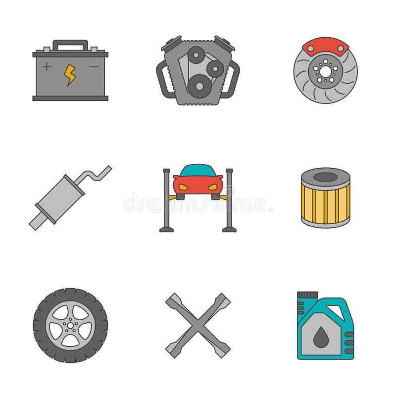 De autopictogrammen van de de dienst vlakke lijn royalty-vrije illustratie