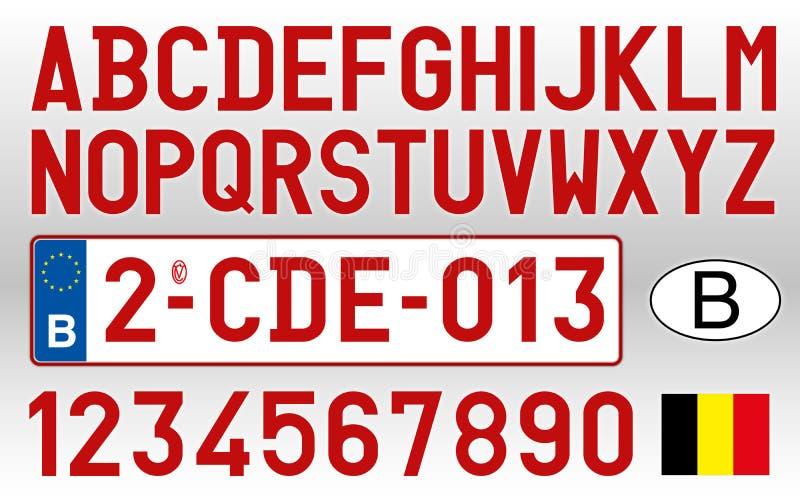 De autoplaat, letters, getallen en symbolen van België royalty-vrije illustratie