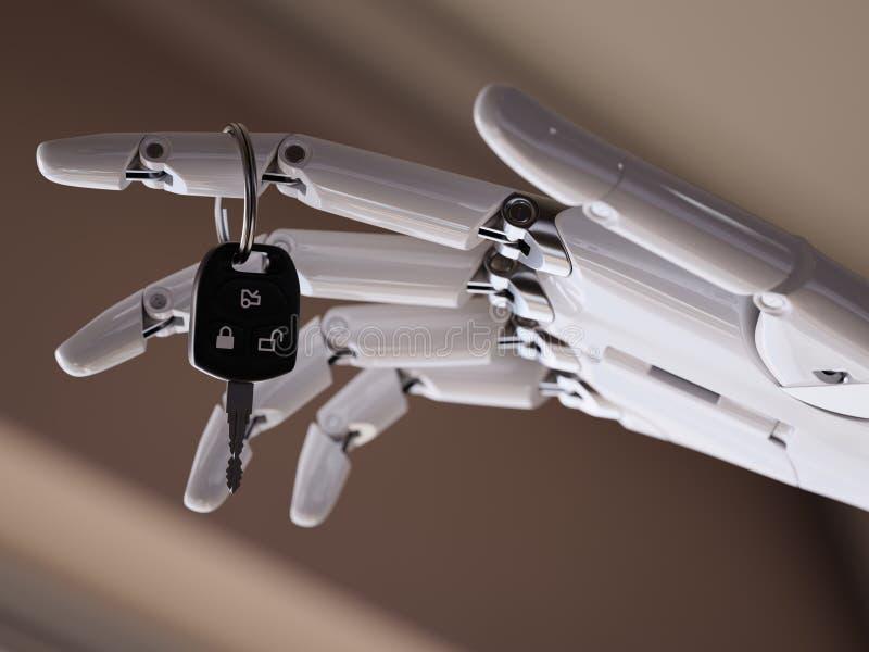 De autosleutels in Robotachtig Wapen sluiten omhoog 3d Illustratieconcept stock illustratie