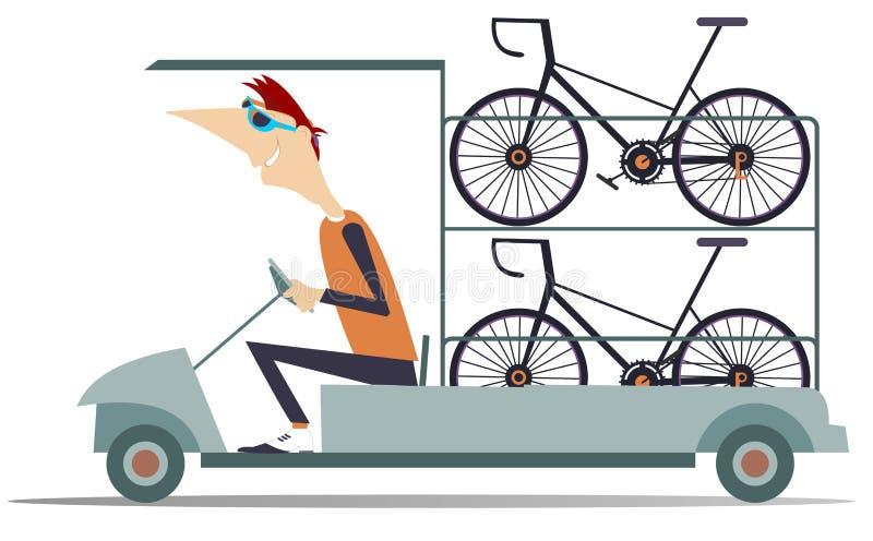 De autotransporten van de cyclus technische hulp geïsoleerde fietsen stock illustratie