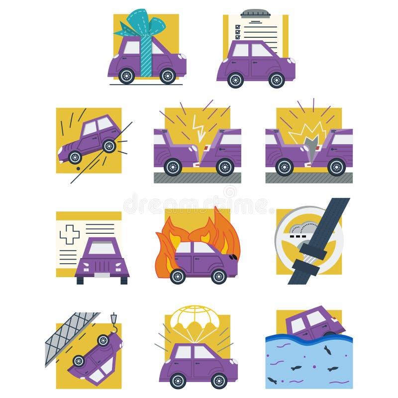 De autoverzekering kleurde vlakke pictogrammen royalty-vrije illustratie