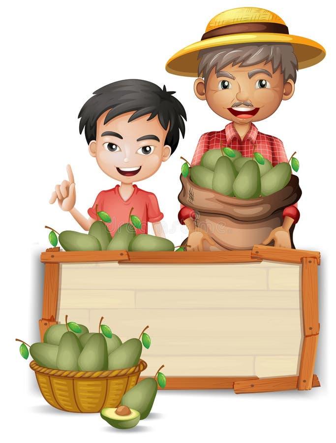 De avocado van de landbouwersholding op banner royalty-vrije illustratie