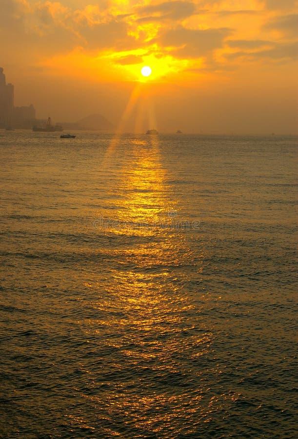 De avondzonneschijn in Kowloon, Hong Kong royalty-vrije stock afbeelding