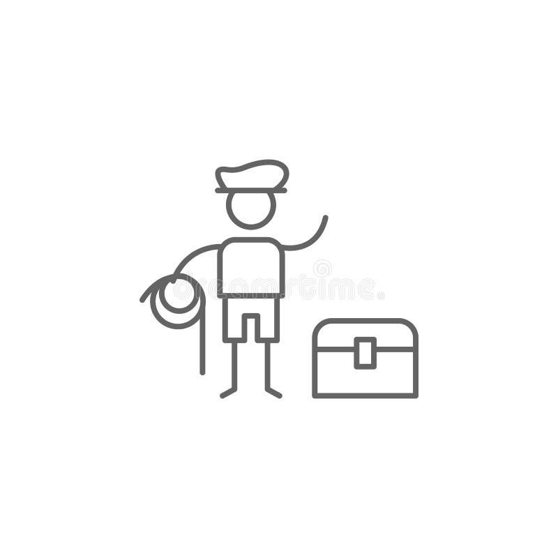 De avonturier, krat, brengt pictogram ten val Element van avonturenpictogram Dun lijnpictogram voor websiteontwerp en ontwikkelin royalty-vrije illustratie
