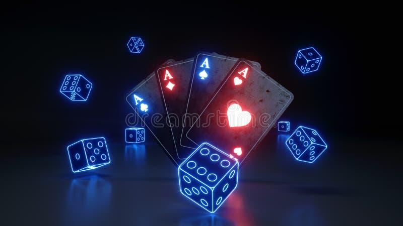 De azenspeelkaarten en dobbelt met het Gloeien Neon Blauwe die Lichten op de Zwarte Achtergrond worden geïsoleerd - 3D Illustrati vector illustratie