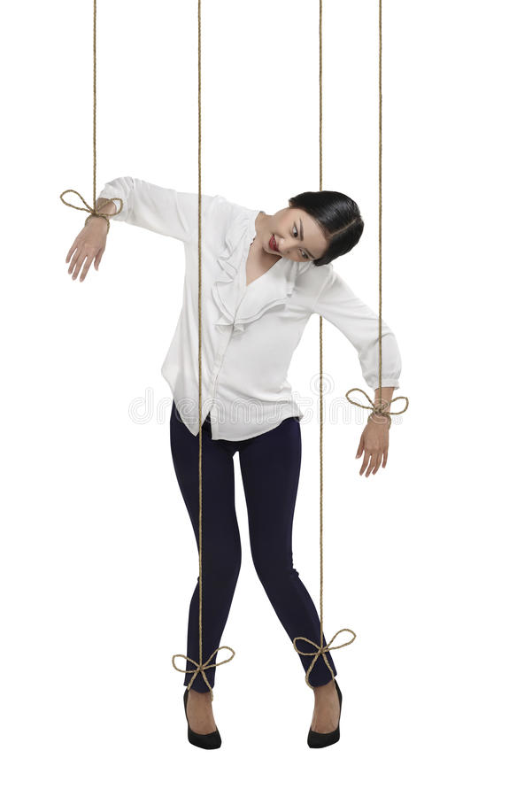 De Aziatische bedrijfsvrouw heeft koord in bijlage aan haar lichaam stock foto's