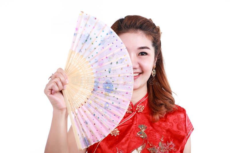 De Aziatische Chinese slag van de vrouwenholding stock afbeelding