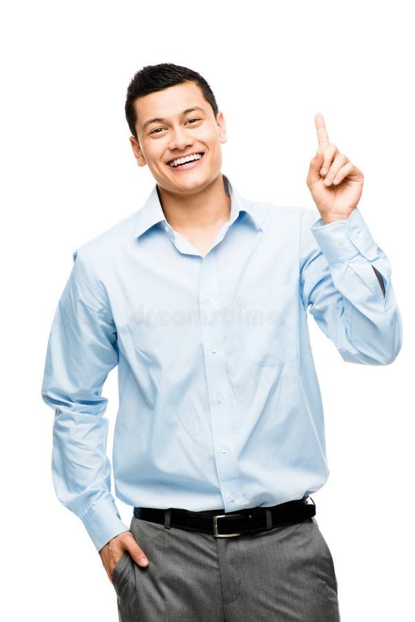 De Aziatische die zakenman heeft idee op wit wordt geïsoleerd stock foto's