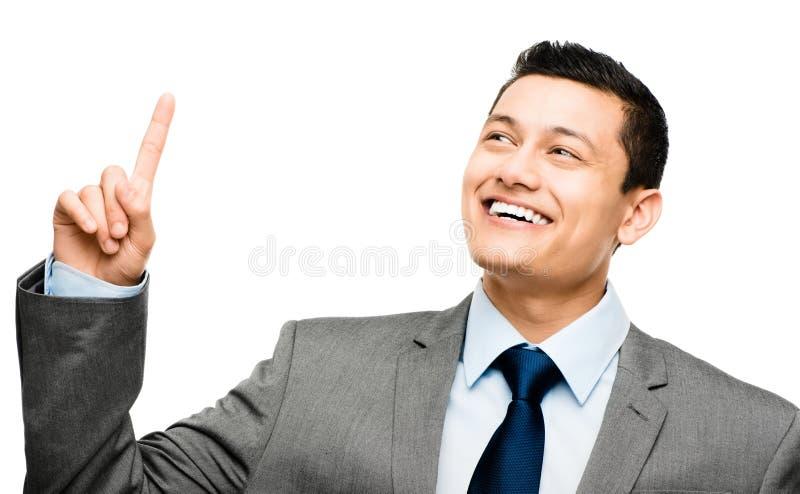 De Aziatische die zakenman heeft idee op wit wordt geïsoleerd royalty-vrije stock fotografie