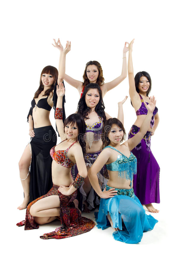 De Aziatische groep van de Buikdans royalty-vrije stock afbeelding