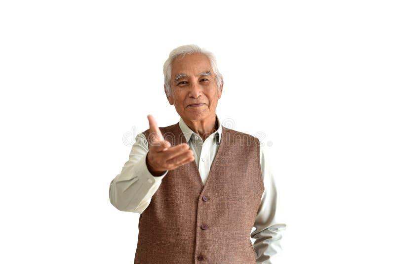 De Aziatische hogere oude mens, de Zekere en glimlachende bejaarde mensen met hand stemmen in met gebaar op witte achtergrond stock afbeelding