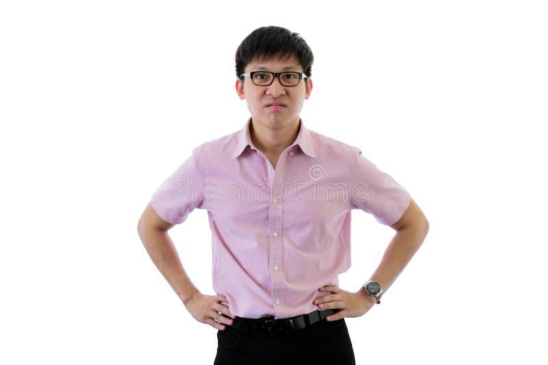 De Aziatische jonge zakenman heeft status met verstoord op ge?soleerd op wihteachtergrond stock afbeelding