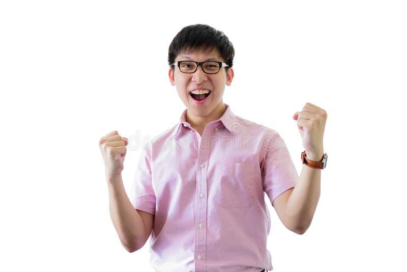 De Aziatische jonge zakenman heeft status met vrolijk op ge?soleerd op wihteachtergrond royalty-vrije stock afbeelding