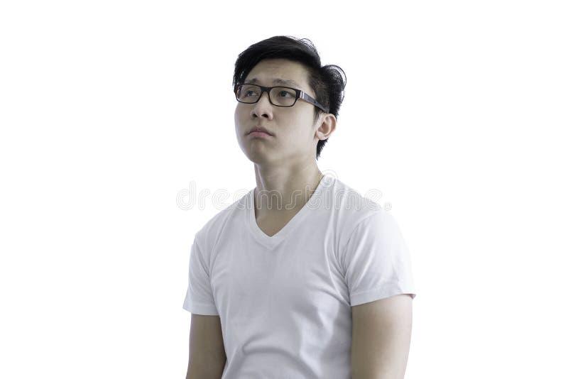 De Aziatische knappe mens met wit overhemd en oranje oogglazen heeft Di royalty-vrije stock afbeelding