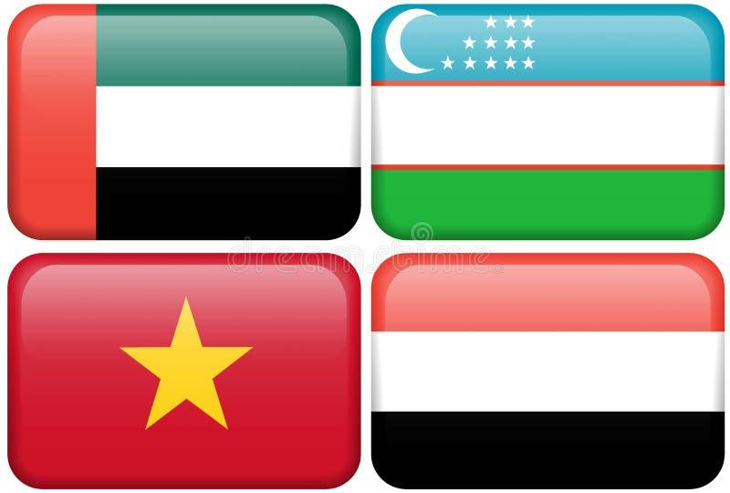 De Aziatische Knopen van de Vlag: Verenigde Arabische Emiraten, Oezbekistan royalty-vrije illustratie