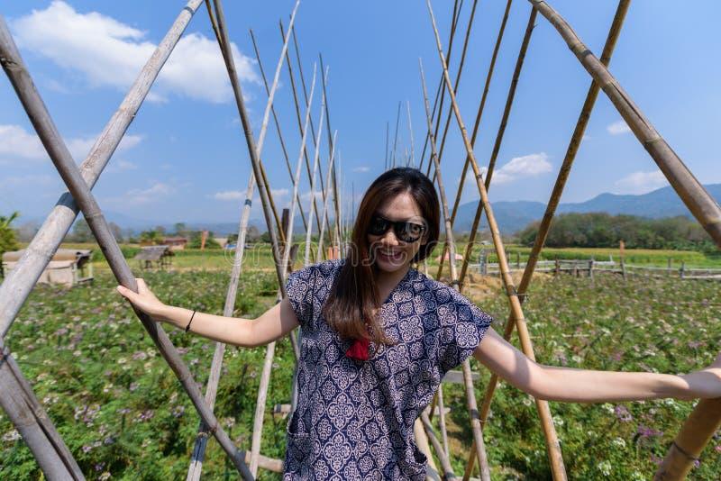 De Aziatische mooie vrouw heeft het ontspannen en geluk met vakantie in Nan-provincie, Thailand stock fotografie