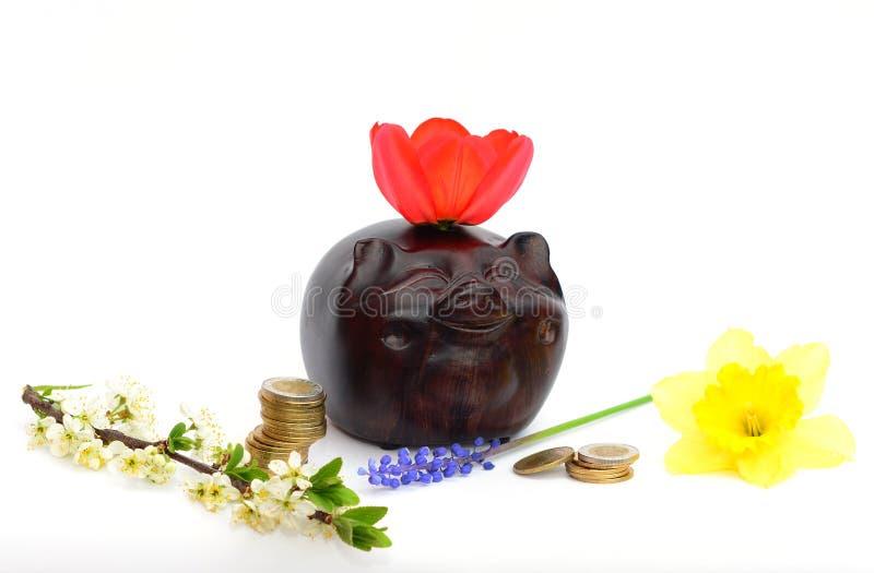 De Aziatische piggybank en geldtoren met tulp, muscari, narcissen, mollige boom bloeit symbolen van rijkdom en welvaart Geïsoleer royalty-vrije stock fotografie