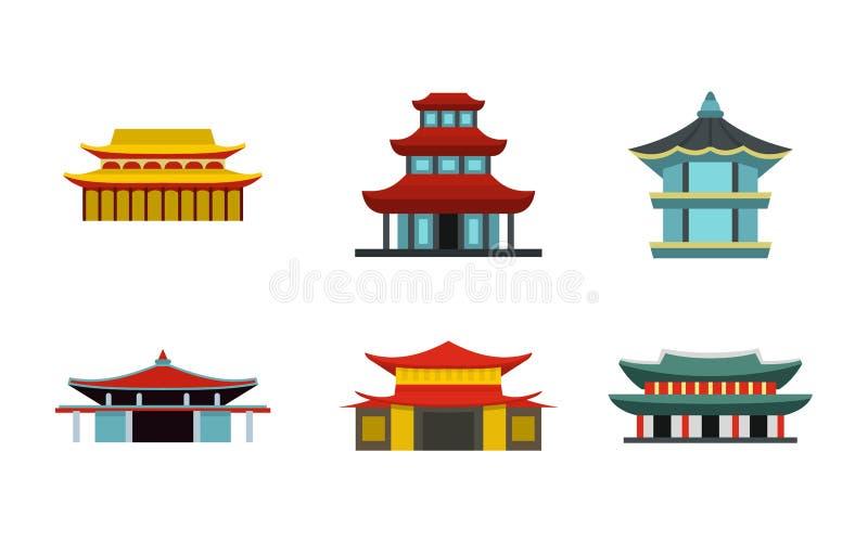 Download De Aziatische Reeks Van Het Kasteelpictogram, Vlakke Stijl Vector Illustratie - Illustratie bestaande uit decoratief, aziatisch: 107707179