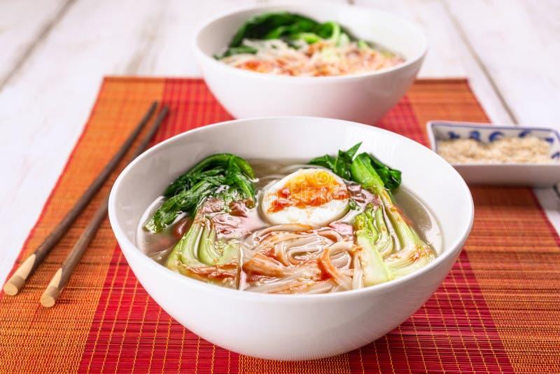 De Aziatische Soep van Rijstnoedels met Bok Choi royalty-vrije stock fotografie