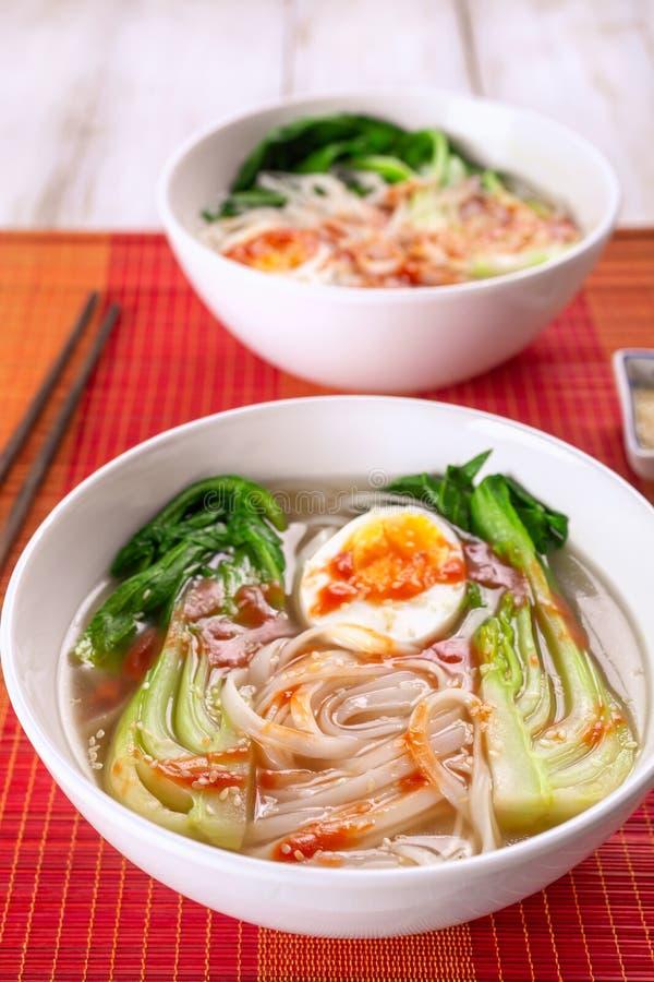 De Aziatische Soep van Rijstnoedels met Bok Choi stock fotografie