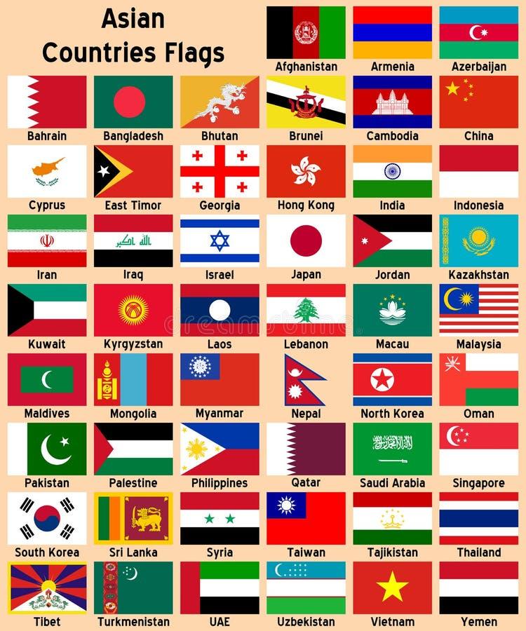 De Aziatische Vlaggen van Landen