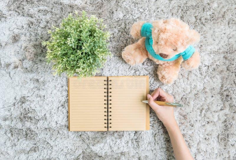 De Aziatische vrouw loog op grijs tapijt de geweven achtergrond voor bij het bruine notaboek door een pen met kunstmatige install royalty-vrije stock afbeelding