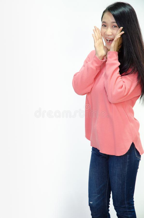 De Aziatische vrouwen glimlachen royalty-vrije stock foto