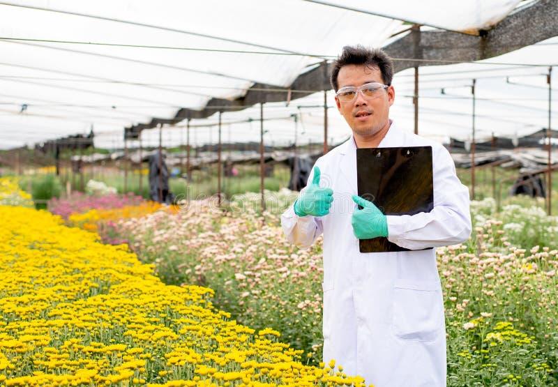 De Aziatische wetenschappermens met witte laboratoriumtoga toont de duimen omhoog in de veelkleurige bloementuin tijdens dagtijd  stock afbeeldingen