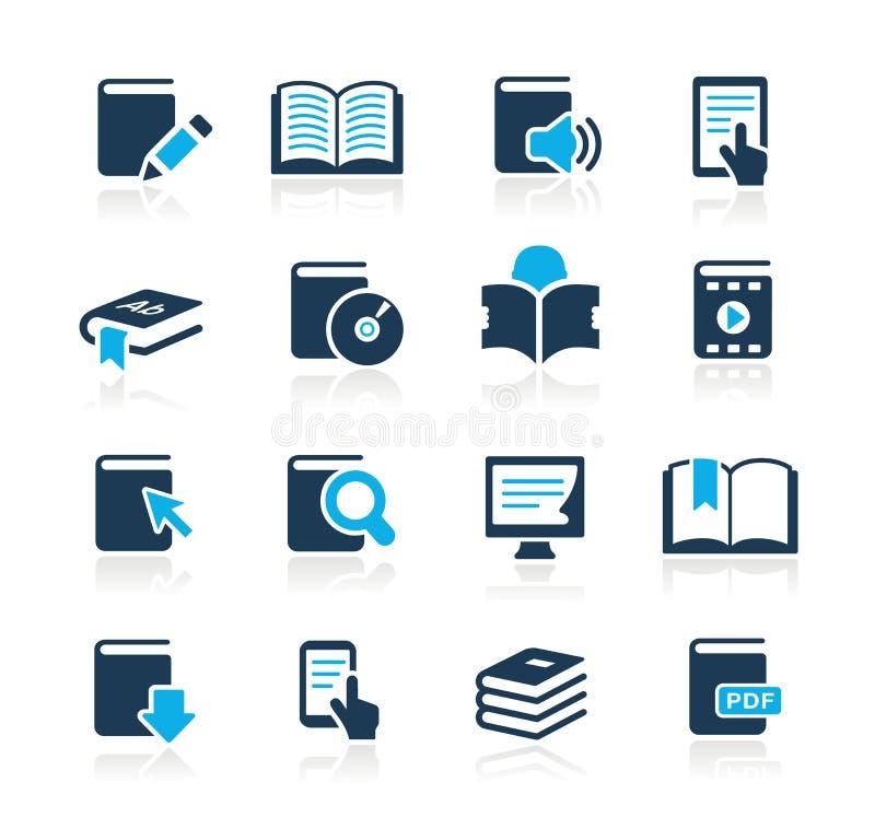 De Azuurblauwe Reeks van // van de Pictogrammen van het boek stock illustratie