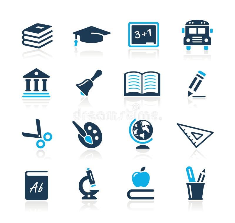 De Azuurblauwe Reeks van // van de Pictogrammen van het onderwijs vector illustratie