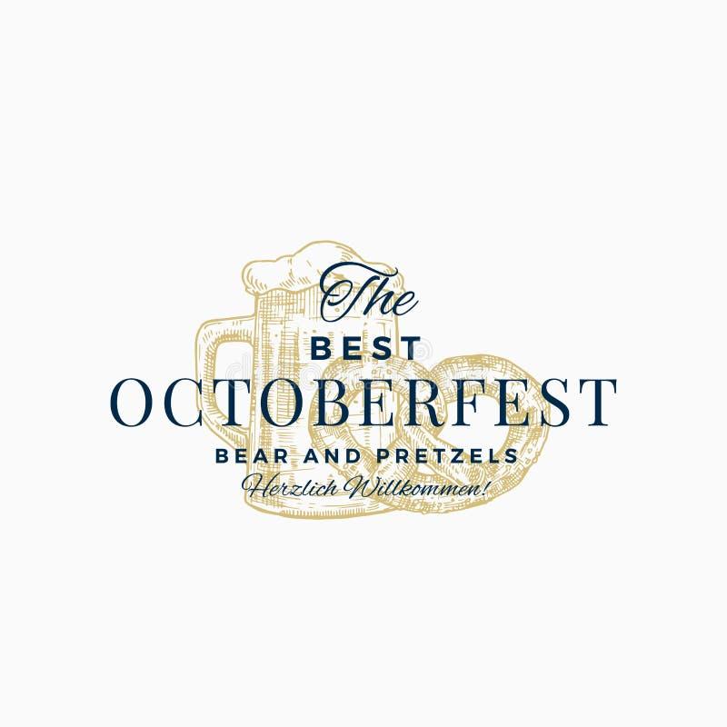 De bästa Octoberfest kringlorna och ölet Abstrakt vektortecken, symbol eller Logo Template Räcka den utdragna kringlan och råna m royaltyfri illustrationer