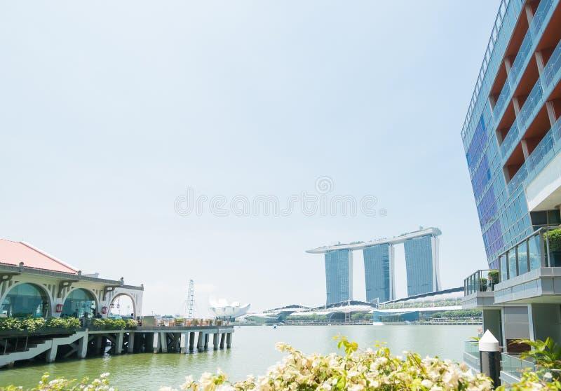 De Baai Singapore met ultra-modern Marina Sands Casino en Hote royalty-vrije stock fotografie