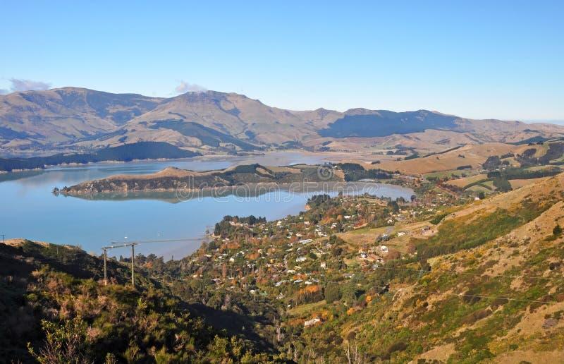 De Baai van gouverneurs in de Herfst, Christchurch, Nieuw Zeeland stock afbeelding