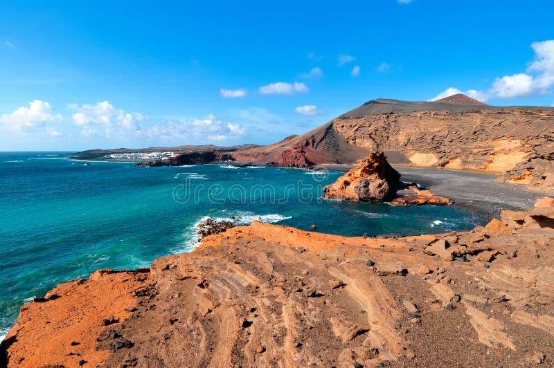 De baai van Gr Golfo, Westelijke Lanzarote stock afbeelding