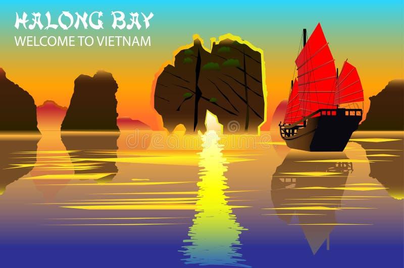 De Baai van Halong Mooie natuurlijke wonder in noordelijk Vietnam dichtbij de Chinese grens royalty-vrije illustratie