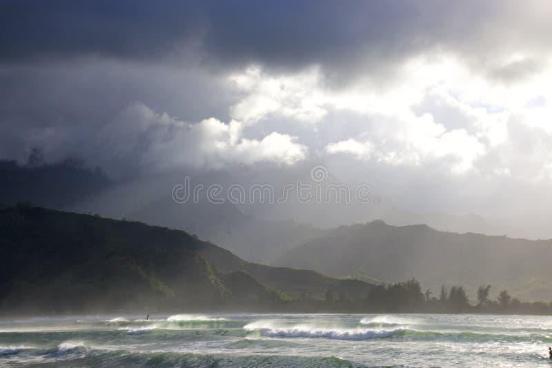 De Baai van Hanalei, Kauai stock fotografie
