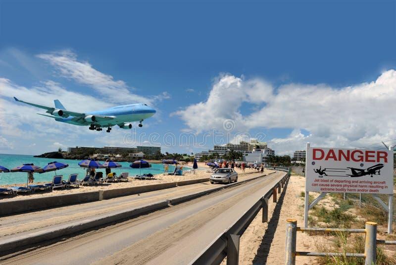 De baai van Maho in St Caraïbisch Martin, royalty-vrije stock foto's